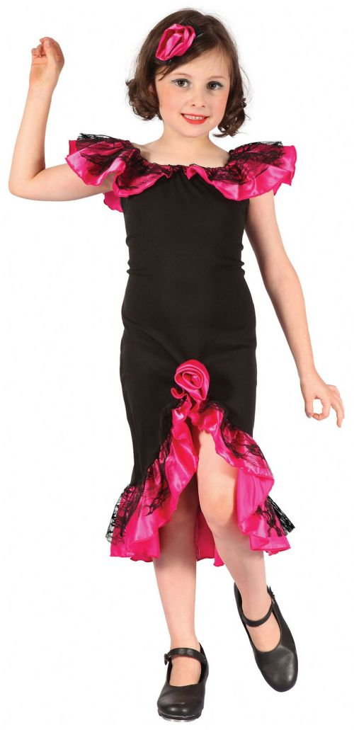 Childs Rumba Girl Costume Spain Spanish Latin American Fancy Dress Outfit